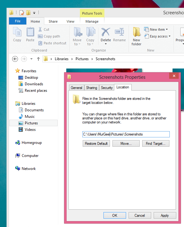 Change Screenshots Folder in Windows 8