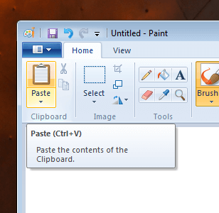 Click on Paste in Paint Application to Retrieve Screenshot from Clipboard of Windows 7