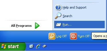 Launch Run Command on Windows XP