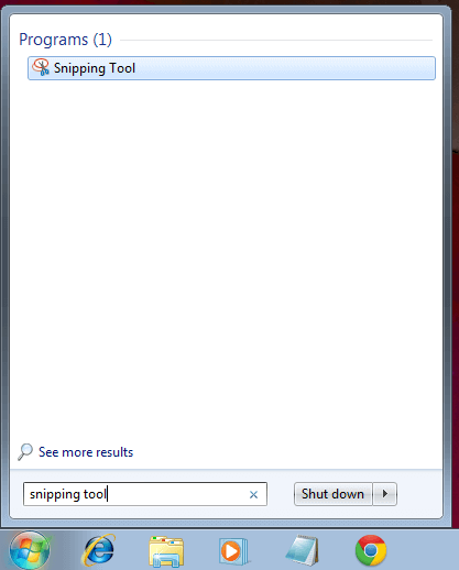 Locate and Launch Snipping Tool to Capture Screenshot in Windows 7
