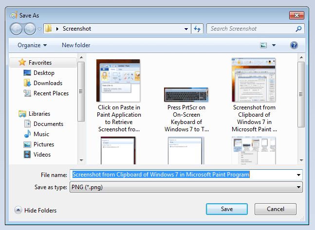 Save Screenshot as a File in Windows 7