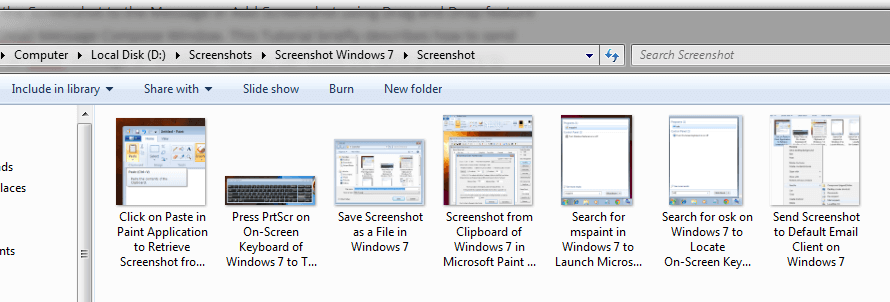 Screenshots Stored on a Windows Computer